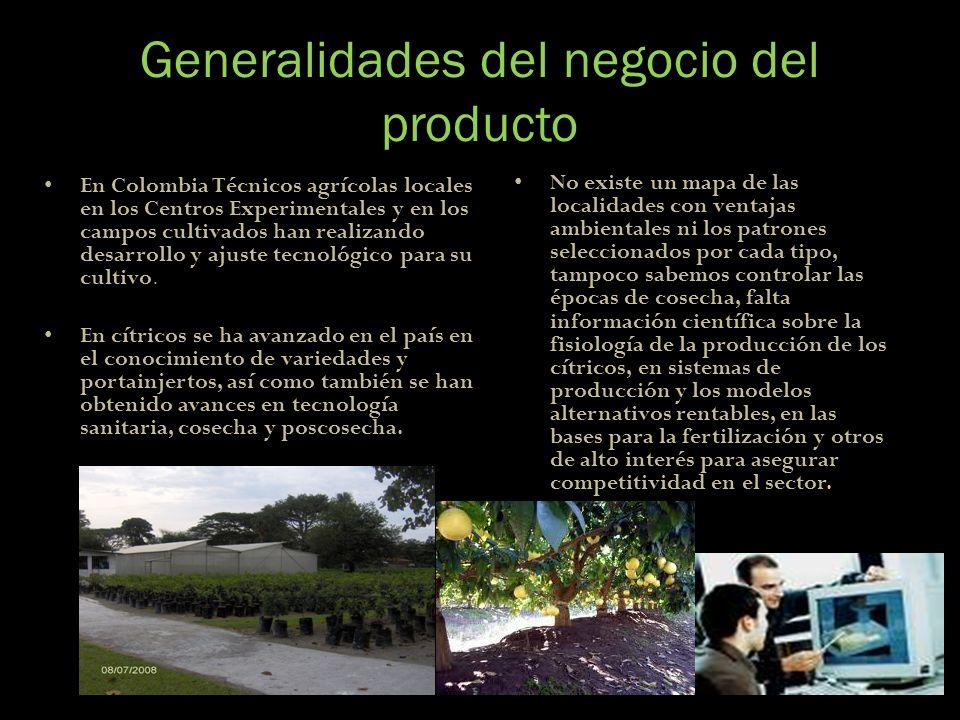 Generalidades del negocio del producto En Colombia Técnicos agrícolas locales en los Centros Experimentales y en los campos cultivados han realizando