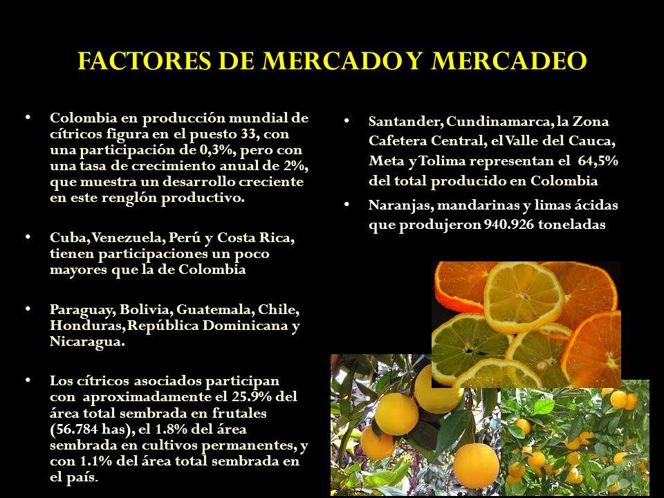 FACTORES DE MERCADO Y MERCADEO Colombia en producción mundial de cítricos figura en el puesto 33, con una participación de 0,3%, pero con una tasa de