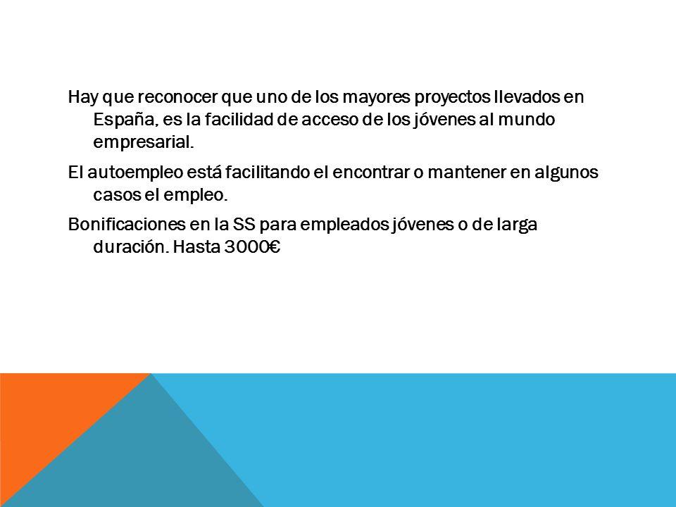 Hay que reconocer que uno de los mayores proyectos llevados en España, es la facilidad de acceso de los jóvenes al mundo empresarial.