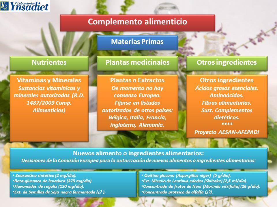 Complemento alimenticio Materias Primas Nutrientes Otros ingredientes Plantas medicinales Vitaminas y Minerales Sustancias vitamínicas y minerales aut