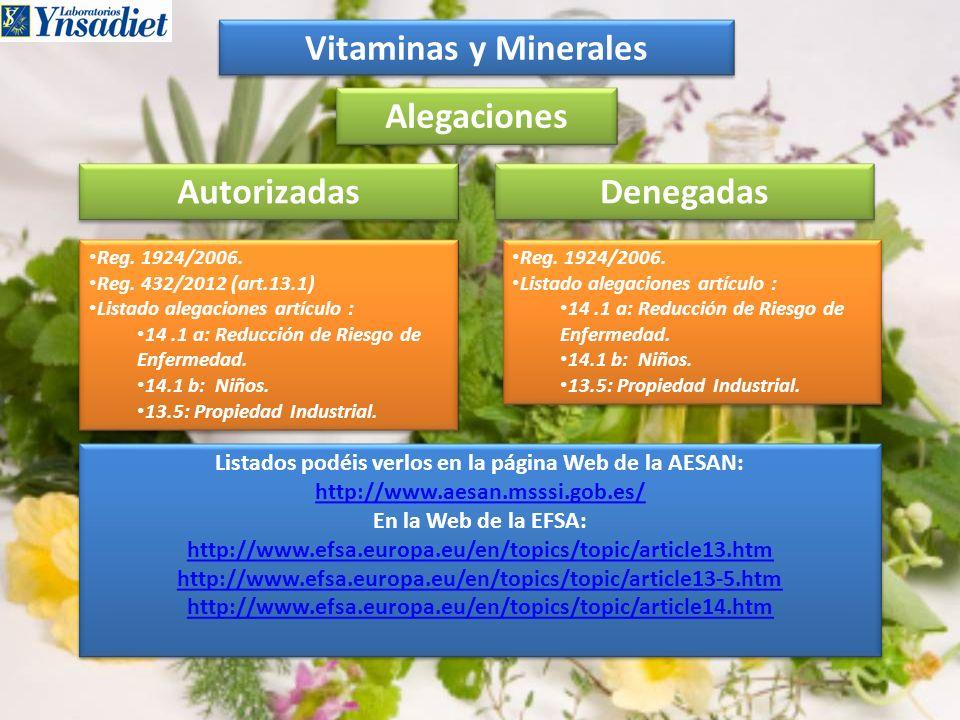 Vitaminas y Minerales Alegaciones Reg. 1924/2006. Reg. 432/2012 (art.13.1) Listado alegaciones artículo : 14.1 a: Reducción de Riesgo de Enfermedad. 1