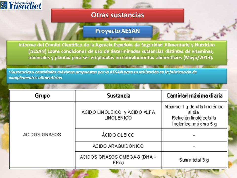 Otras sustancias Proyecto AESAN Informe del Comité Científico de la Agencia Española de Seguridad Alimentaria y Nutrición (AESAN) sobre condiciones de