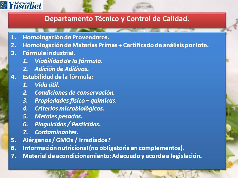 Departamento Técnico y Control de Calidad. 1.Homologación de Proveedores. 2.Homologación de Materias Primas + Certificado de análisis por lote. 3.Fórm