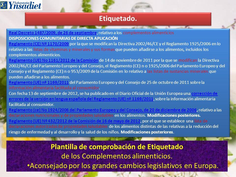 Etiquetado. Real Decreto 1487/2009, de 26 de septiembreReal Decreto 1487/2009, de 26 de septiembre, relativo a los complementos alimenticios DISPOSICI