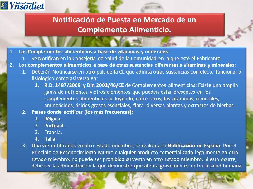 Notificación de Puesta en Mercado de un Complemento Alimenticio. 1.Los Complementos alimenticios a base de vitaminas y minerales: 1.Se Notifican en la