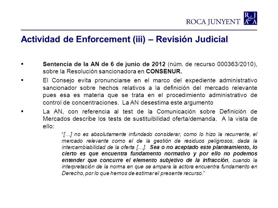 Actividad de Enforcement (iii) – Revisión Judicial Sentencia de la AN de 6 de junio de 2012 (núm. de recurso 000363/2010), sobre la Resolución sancion