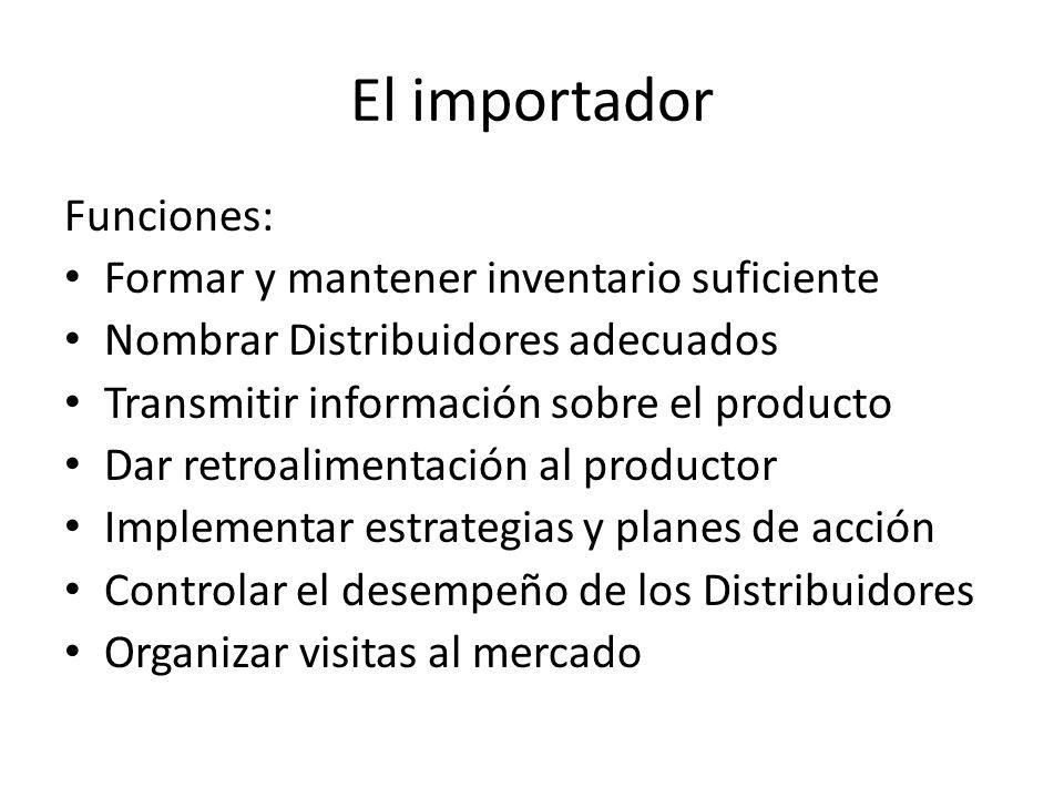 El importador Funciones: Formar y mantener inventario suficiente Nombrar Distribuidores adecuados Transmitir información sobre el producto Dar retroal