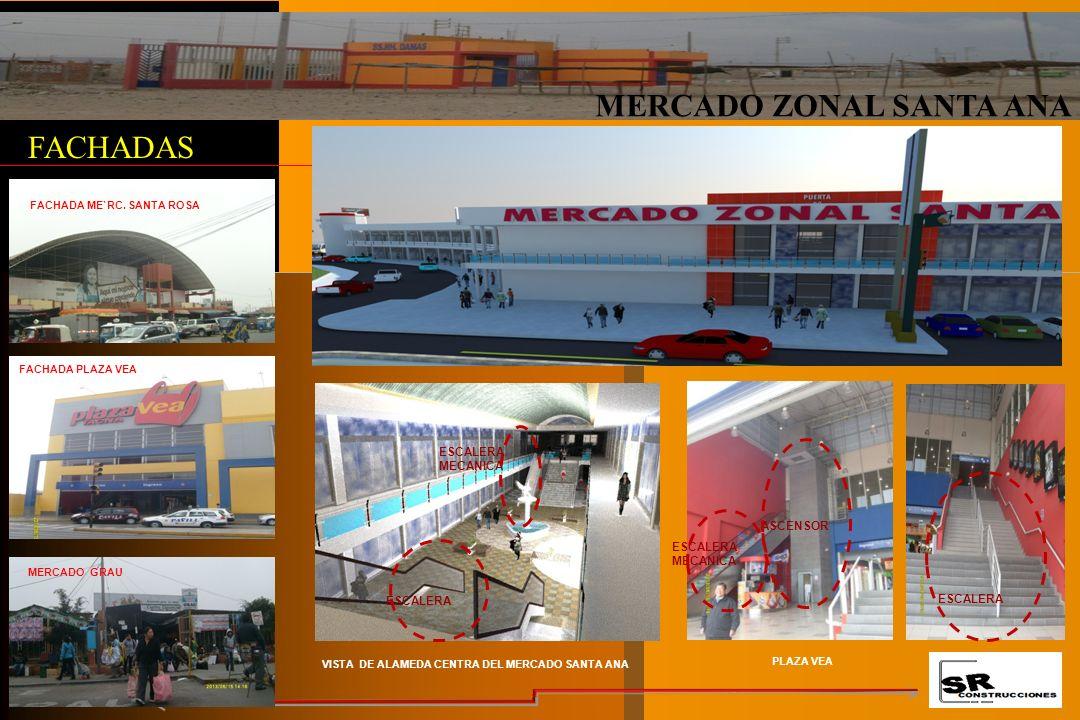 MERCADO ZONAL SANTA ANA FACHADAS ESCALERA MECANICA ASCENSOR ESCALERA FACHADA PLAZA VEA MERCADO GRAU FACHADA ME`RC.