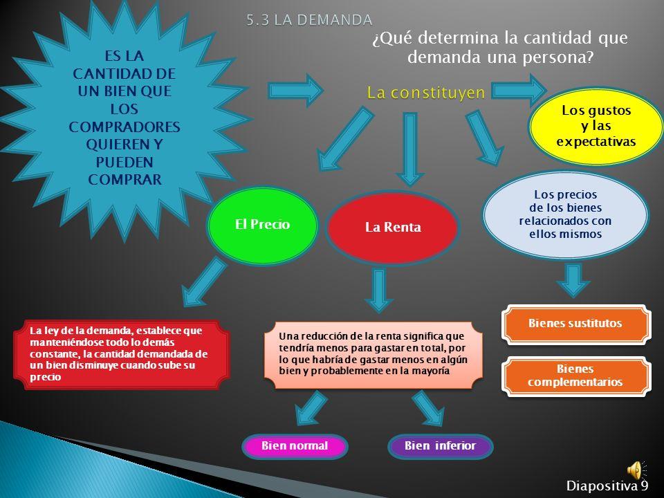 Diapositiva 9 ES LA CANTIDAD DE UN BIEN QUE LOS COMPRADORES QUIEREN Y PUEDEN COMPRAR ¿Qué determina la cantidad que demanda una persona.