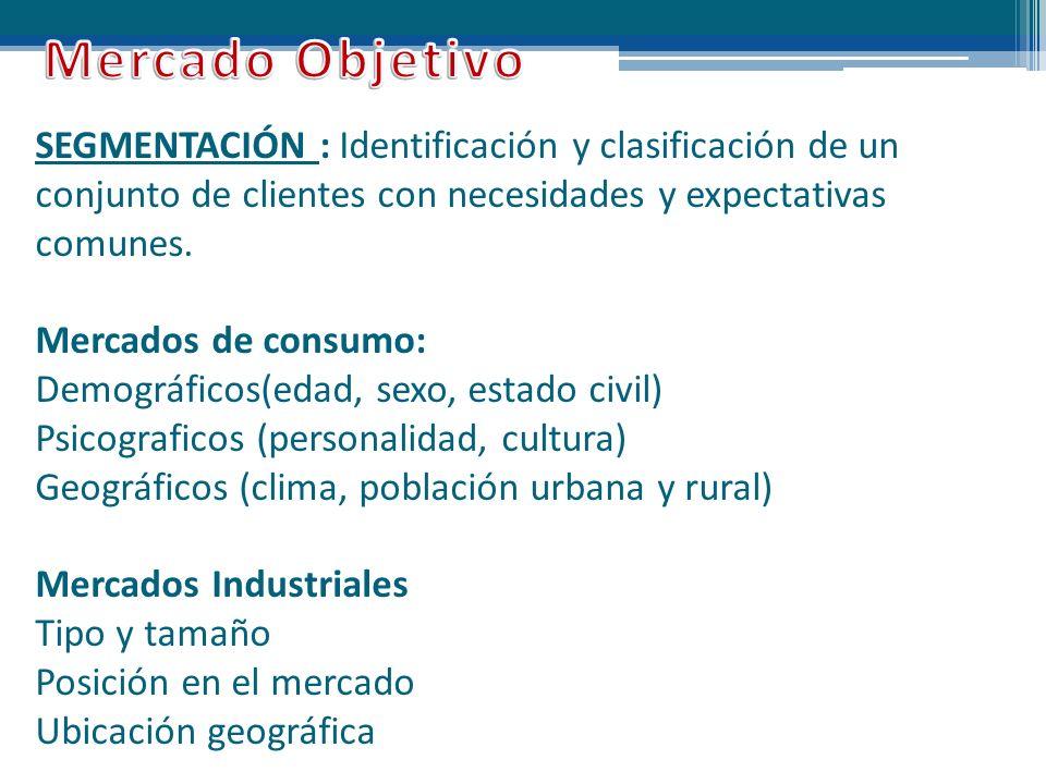 SEGMENTACIÓN : Identificación y clasificación de un conjunto de clientes con necesidades y expectativas comunes. Mercados de consumo: Demográficos(eda