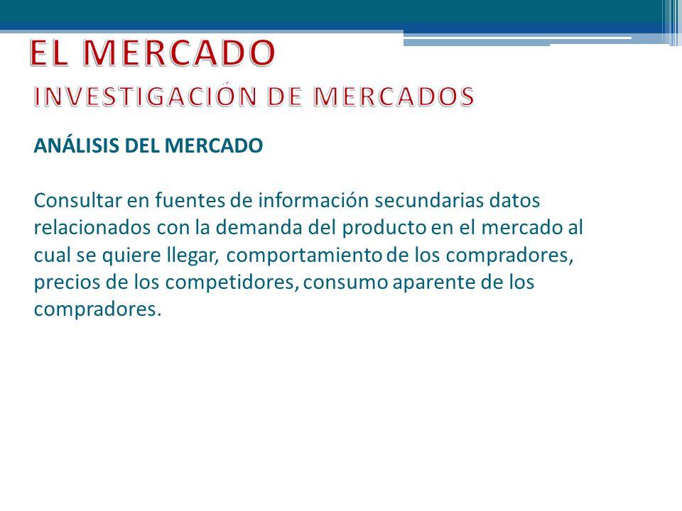 ANÁLISIS DEL MERCADO Consultar en fuentes de información secundarias datos relacionados con la demanda del producto en el mercado al cual se quiere ll