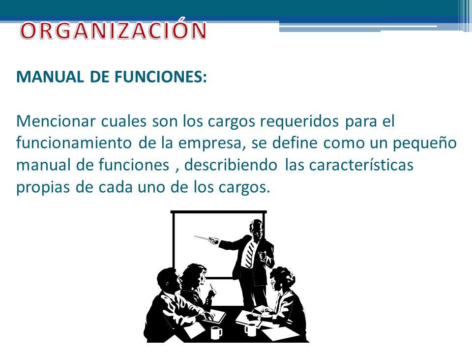 MANUAL DE FUNCIONES: Mencionar cuales son los cargos requeridos para el funcionamiento de la empresa, se define como un pequeño manual de funciones, d