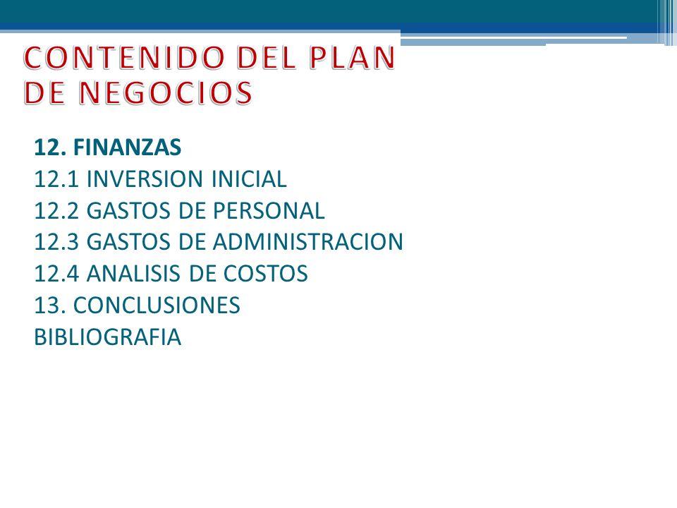 12. FINANZAS 12.1 INVERSION INICIAL 12.2 GASTOS DE PERSONAL 12.3 GASTOS DE ADMINISTRACION 12.4 ANALISIS DE COSTOS 13. CONCLUSIONES BIBLIOGRAFIA