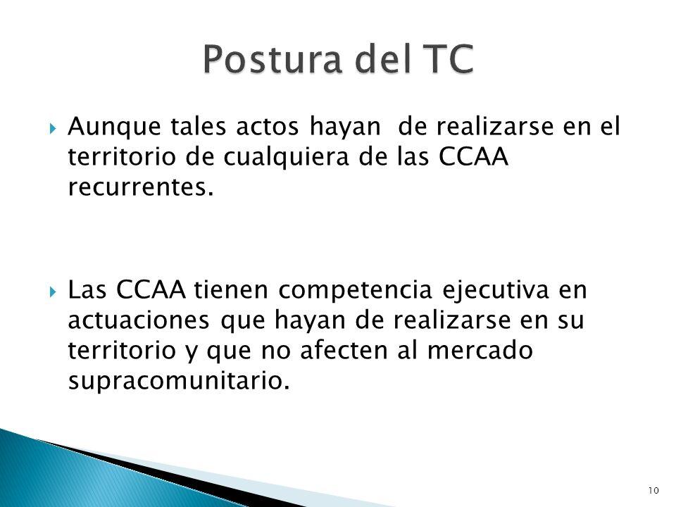 10 Aunque tales actos hayan de realizarse en el territorio de cualquiera de las CCAA recurrentes. Las CCAA tienen competencia ejecutiva en actuaciones