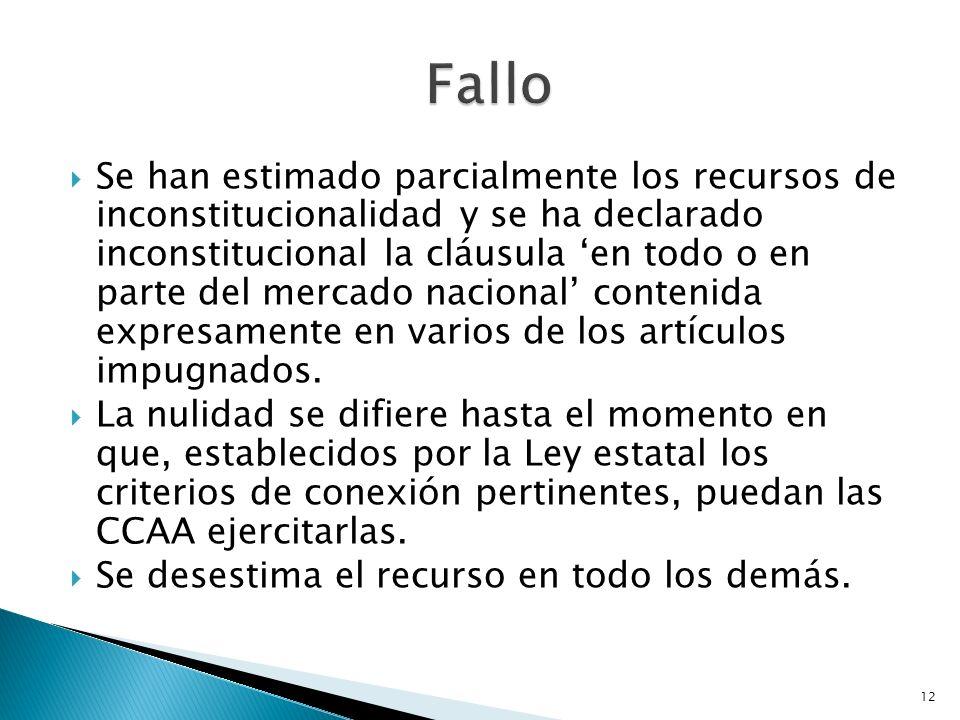 12 Se han estimado parcialmente los recursos de inconstitucionalidad y se ha declarado inconstitucional la cláusula en todo o en parte del mercado nac