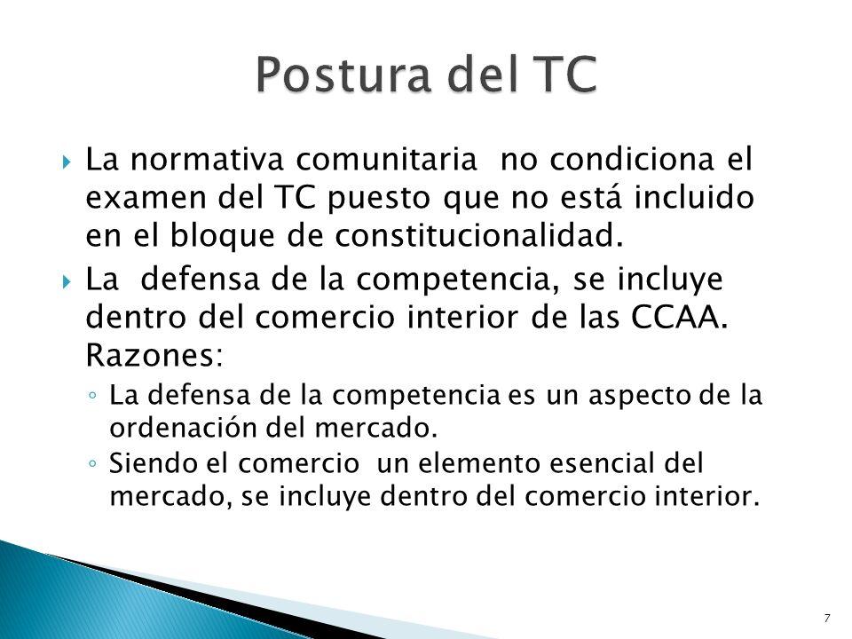 7 La normativa comunitaria no condiciona el examen del TC puesto que no está incluido en el bloque de constitucionalidad. La defensa de la competencia
