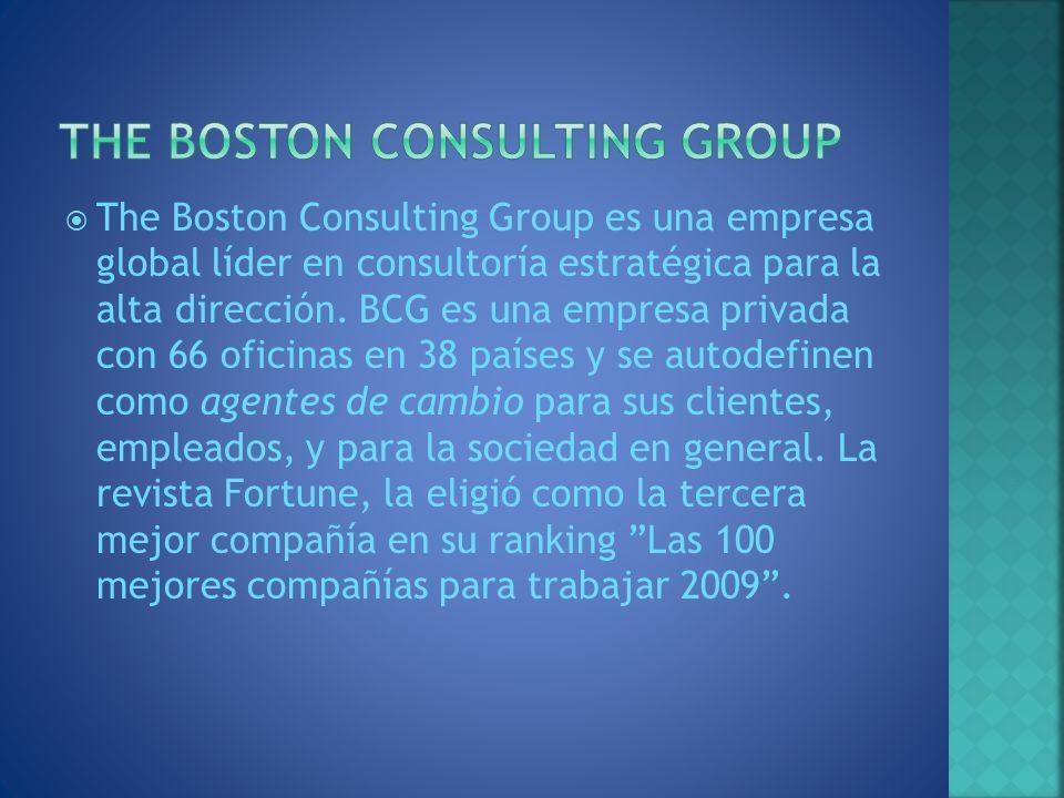 The Boston Consulting Group es una empresa global líder en consultoría estratégica para la alta dirección. BCG es una empresa privada con 66 oficinas