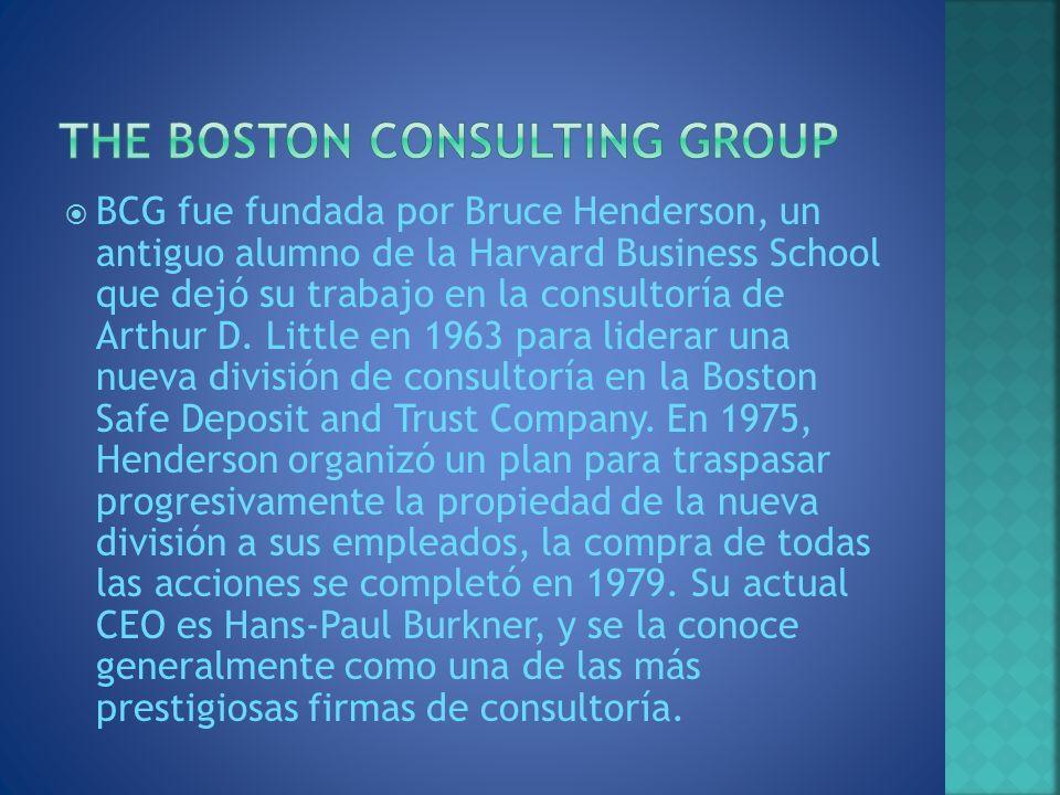 BCG fue fundada por Bruce Henderson, un antiguo alumno de la Harvard Business School que dejó su trabajo en la consultoría de Arthur D. Little en 1963