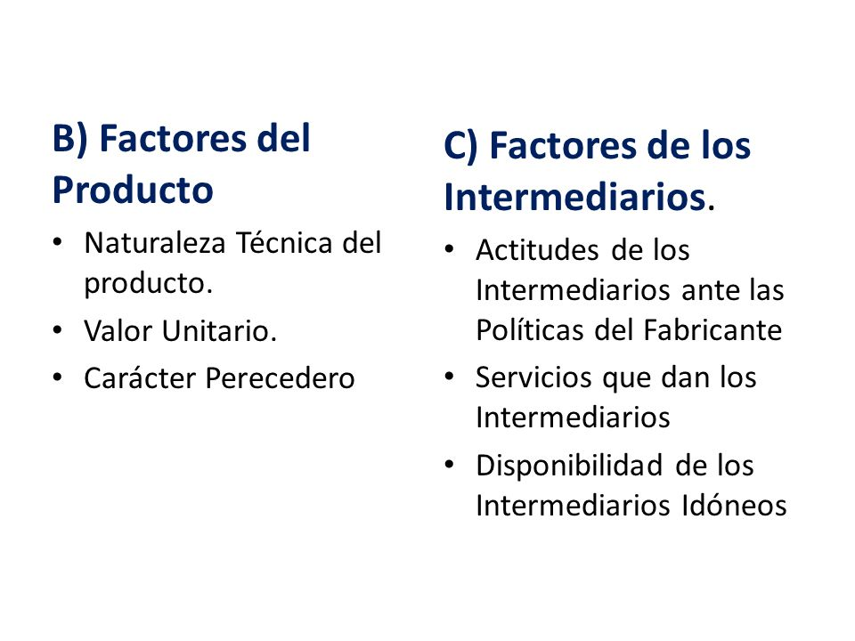 B) Factores del Producto Naturaleza Técnica del producto. Valor Unitario. Carácter Perecedero C) Factores de los Intermediarios. Actitudes de los Inte