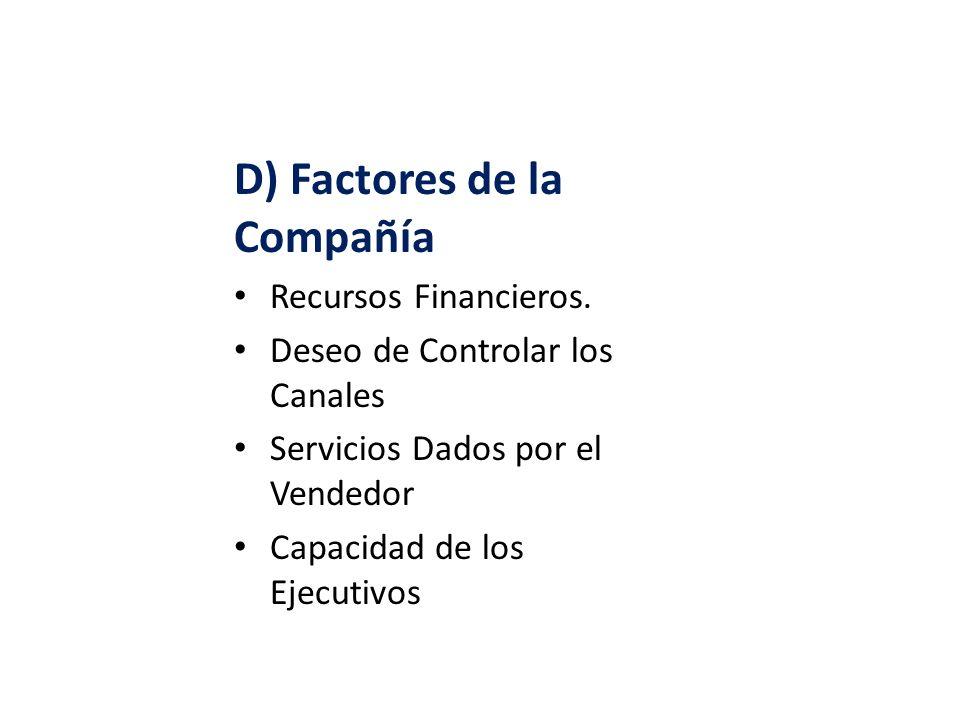 D) Factores de la Compañía Recursos Financieros. Deseo de Controlar los Canales Servicios Dados por el Vendedor Capacidad de los Ejecutivos