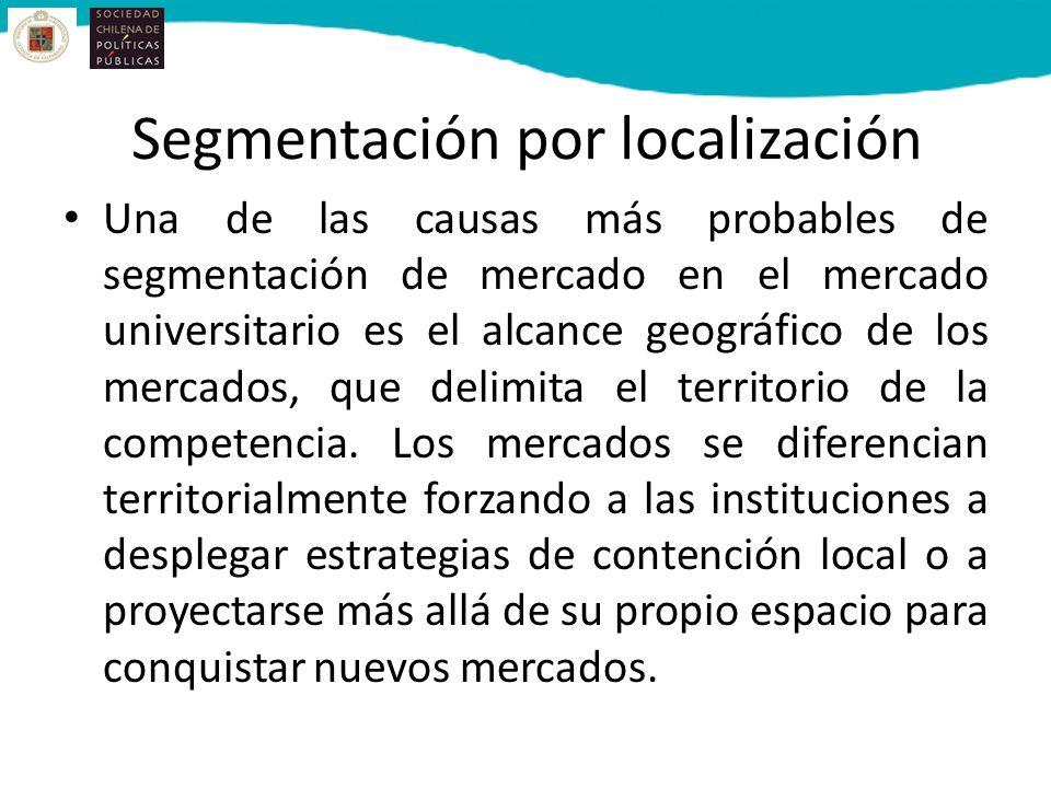 Segmentación por localización Una de las causas más probables de segmentación de mercado en el mercado universitario es el alcance geográfico de los mercados, que delimita el territorio de la competencia.