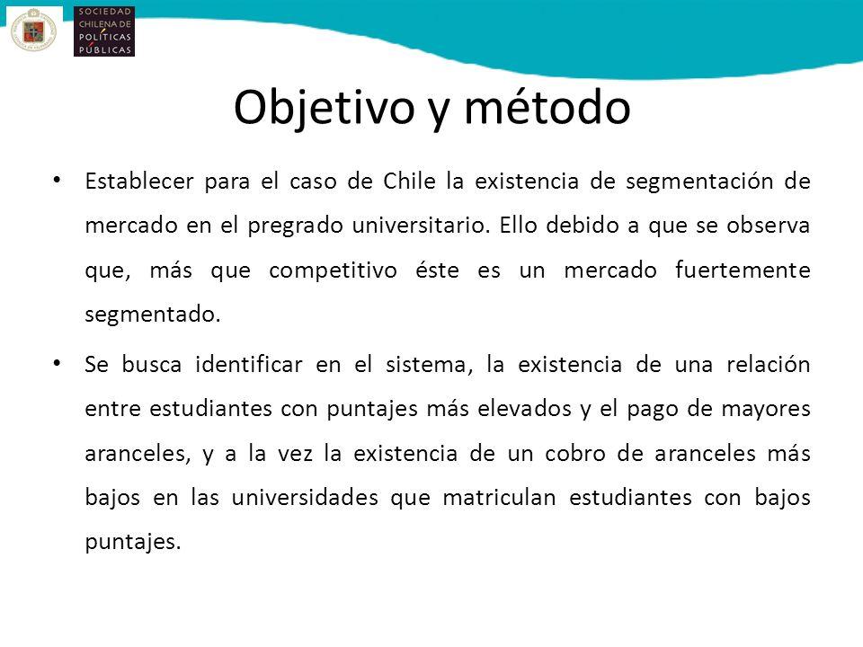 Objetivo y método Establecer para el caso de Chile la existencia de segmentación de mercado en el pregrado universitario.