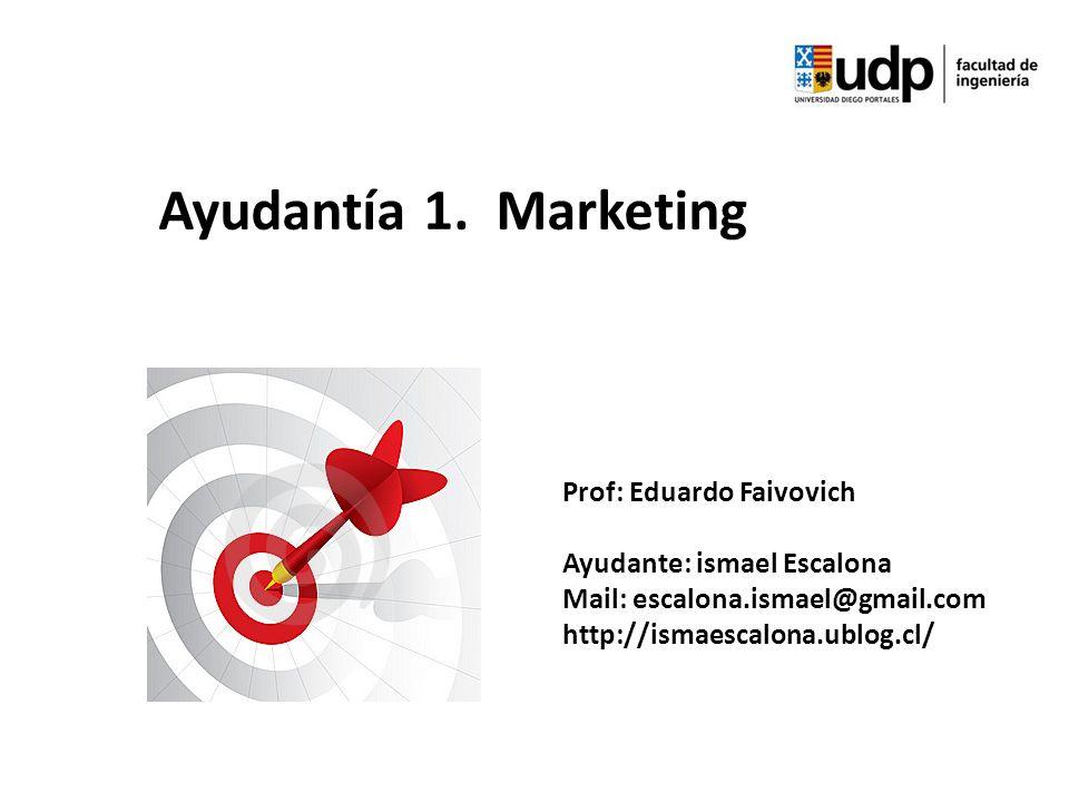 Ayudantía 1. Marketing Prof: Eduardo Faivovich Ayudante: ismael Escalona Mail: escalona.ismael@gmail.com http://ismaescalona.ublog.cl/