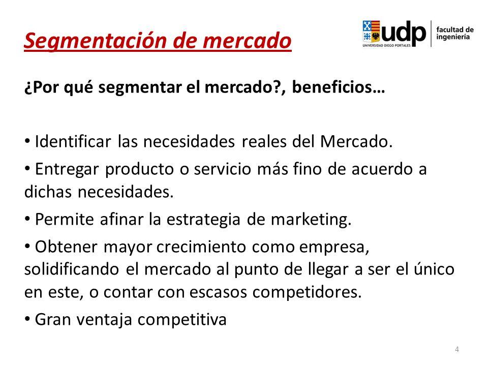 ¿Por qué segmentar el mercado?, beneficios… Identificar las necesidades reales del Mercado. Entregar producto o servicio más fino de acuerdo a dichas