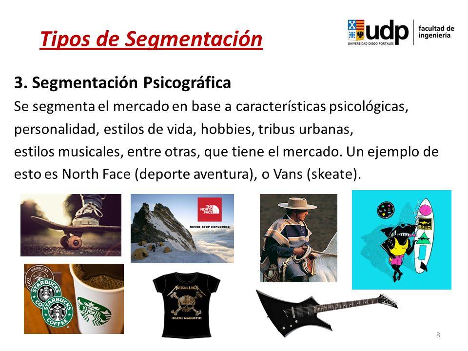 8 3. Segmentación Psicográfica Se segmenta el mercado en base a características psicológicas, personalidad, estilos de vida, hobbies, tribus urbanas,