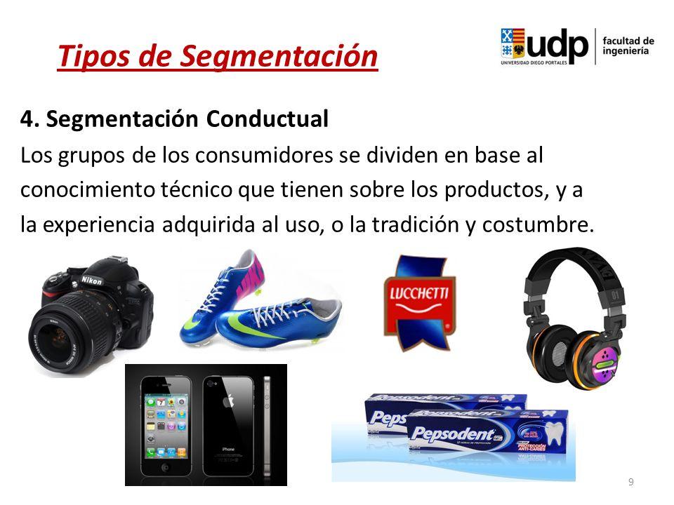 9 Tipos de Segmentación 4. Segmentación Conductual Los grupos de los consumidores se dividen en base al conocimiento técnico que tienen sobre los prod