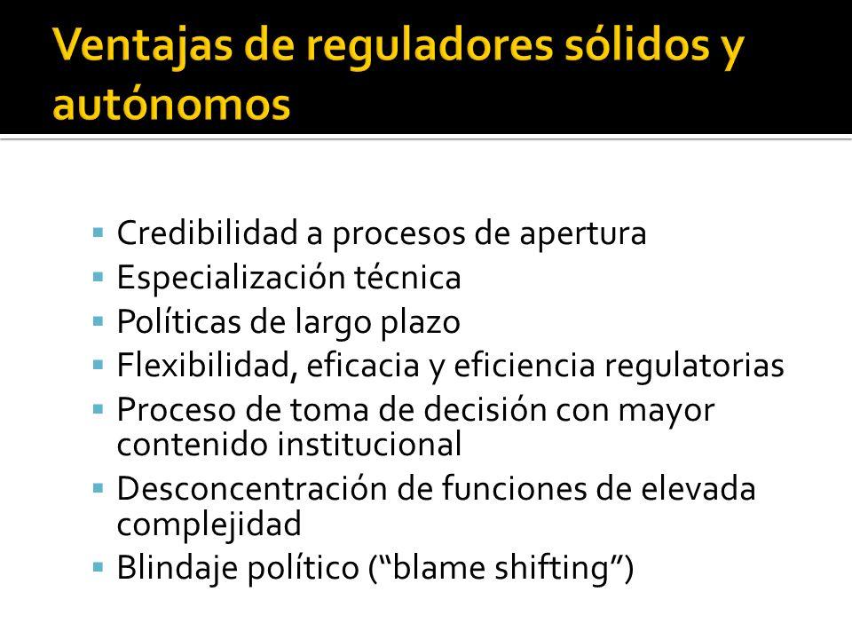 Asimetrías de información gobierno- regulador Tutela, supervisión y rendición de cuentas Feudalización regulatoria Compatibilidad con otras funciones conexas Déficit democrático Concentración de funciones