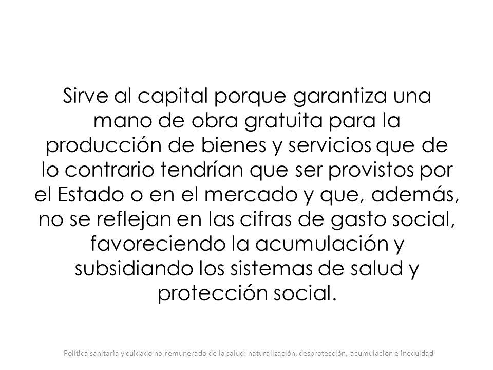 Sirve al capital porque garantiza una mano de obra gratuita para la producción de bienes y servicios que de lo contrario tendrían que ser provistos po