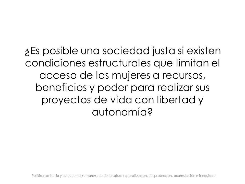¿Es posible una sociedad justa si existen condiciones estructurales que limitan el acceso de las mujeres a recursos, beneficios y poder para realizar
