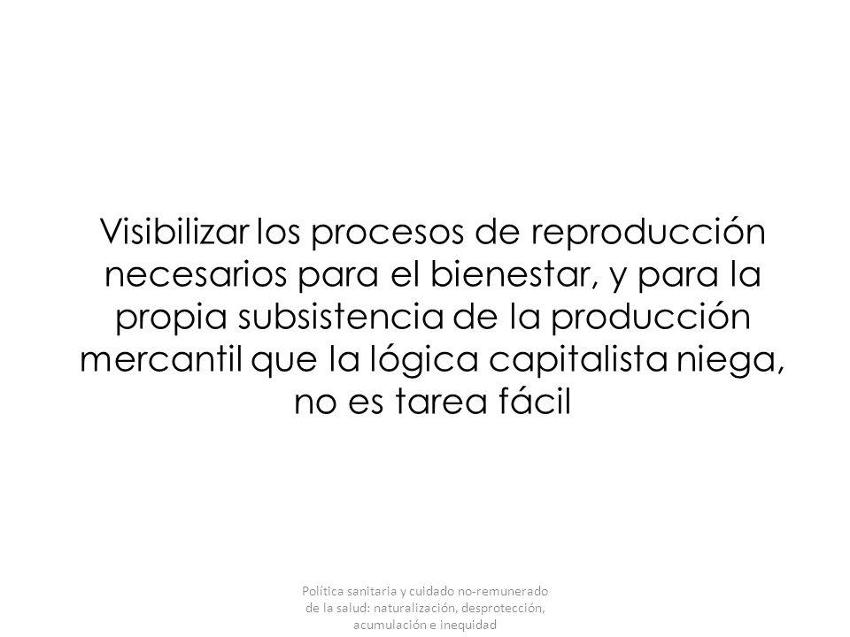 Visibilizar los procesos de reproducción necesarios para el bienestar, y para la propia subsistencia de la producción mercantil que la lógica capitali