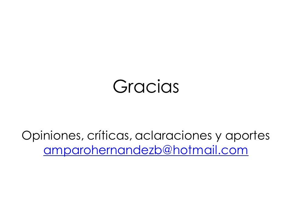 Gracias Opiniones, críticas, aclaraciones y aportes amparohernandezb@hotmail.com amparohernandezb@hotmail.com