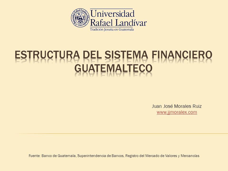 Fuente: Banco de Guatemala, Superintendencia de Bancos, Registro del Mercado de Valores y Mercancías Juan José Morales Ruiz www.jjmoralex.com