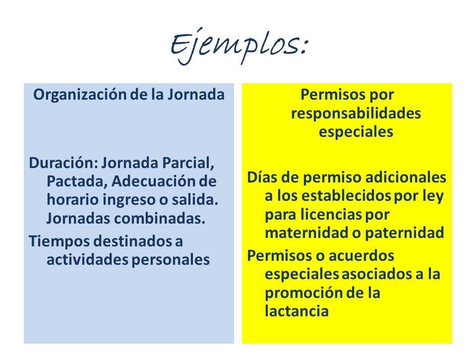 Organización de la Jornada Duración: Jornada Parcial, Pactada, Adecuación de horario ingreso o salida. Jornadas combinadas. Tiempos destinados a activ