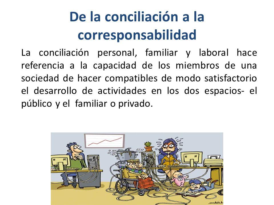 De la conciliación a la corresponsabilidad La conciliación personal, familiar y laboral hace referencia a la capacidad de los miembros de una sociedad