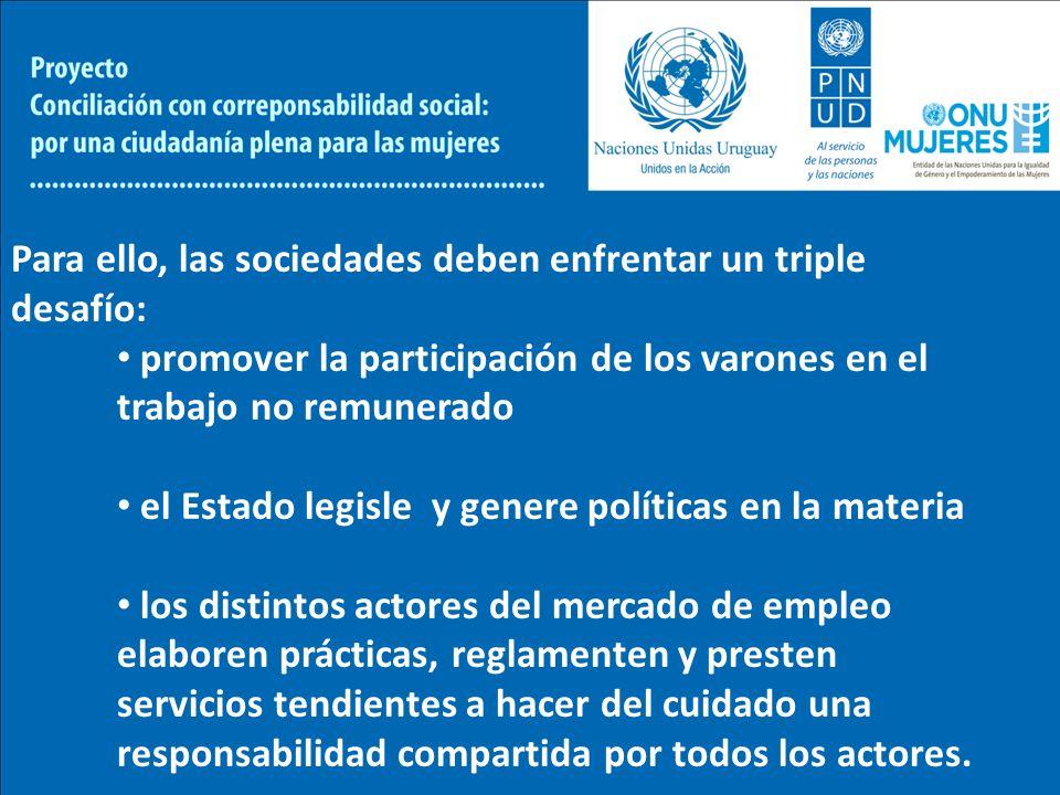 Para ello, las sociedades deben enfrentar un triple desafío: promover la participación de los varones en el trabajo no remunerado el Estado legisle y