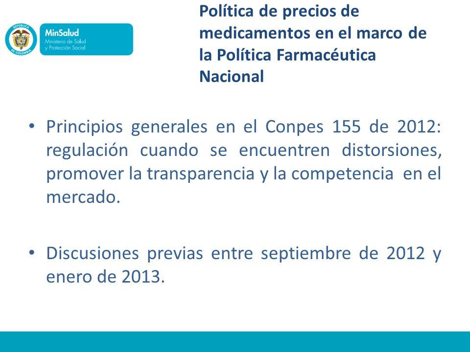 Política de precios de medicamentos en el marco de la Política Farmacéutica Nacional Principios generales en el Conpes 155 de 2012: regulación cuando se encuentren distorsiones, promover la transparencia y la competencia en el mercado.