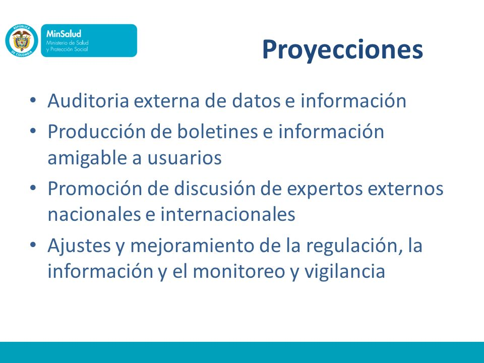 Proyecciones Auditoria externa de datos e información Producción de boletines e información amigable a usuarios Promoción de discusión de expertos externos nacionales e internacionales Ajustes y mejoramiento de la regulación, la información y el monitoreo y vigilancia