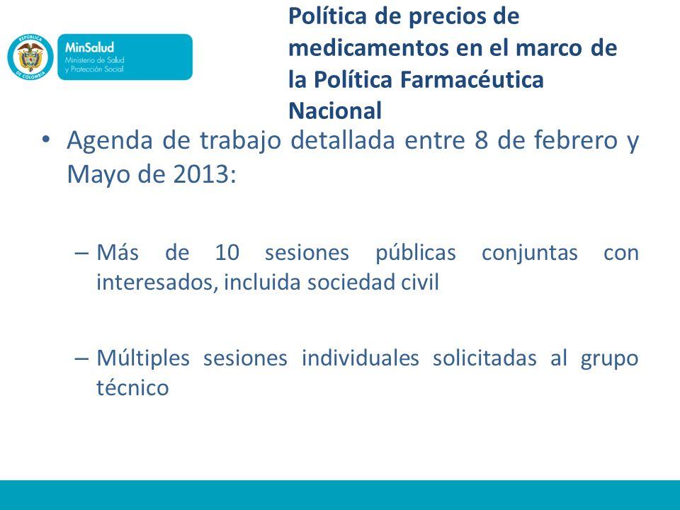 Política de precios de medicamentos en el marco de la Política Farmacéutica Nacional Agenda de trabajo detallada entre 8 de febrero y Mayo de 2013: –