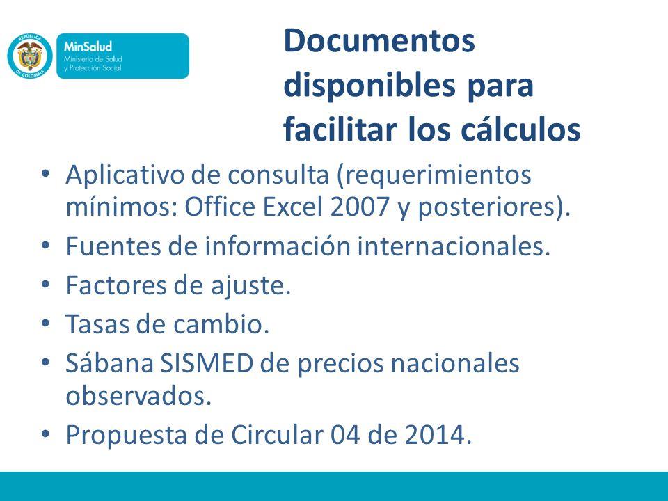 Documentos disponibles para facilitar los cálculos Aplicativo de consulta (requerimientos mínimos: Office Excel 2007 y posteriores). Fuentes de inform