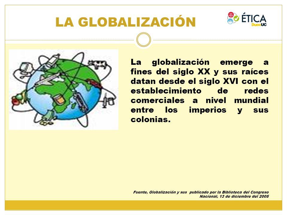 La globalización emerge a fines del siglo XX y sus raíces datan desde el siglo XVI con el establecimiento de redes comerciales a nivel mundial entre l