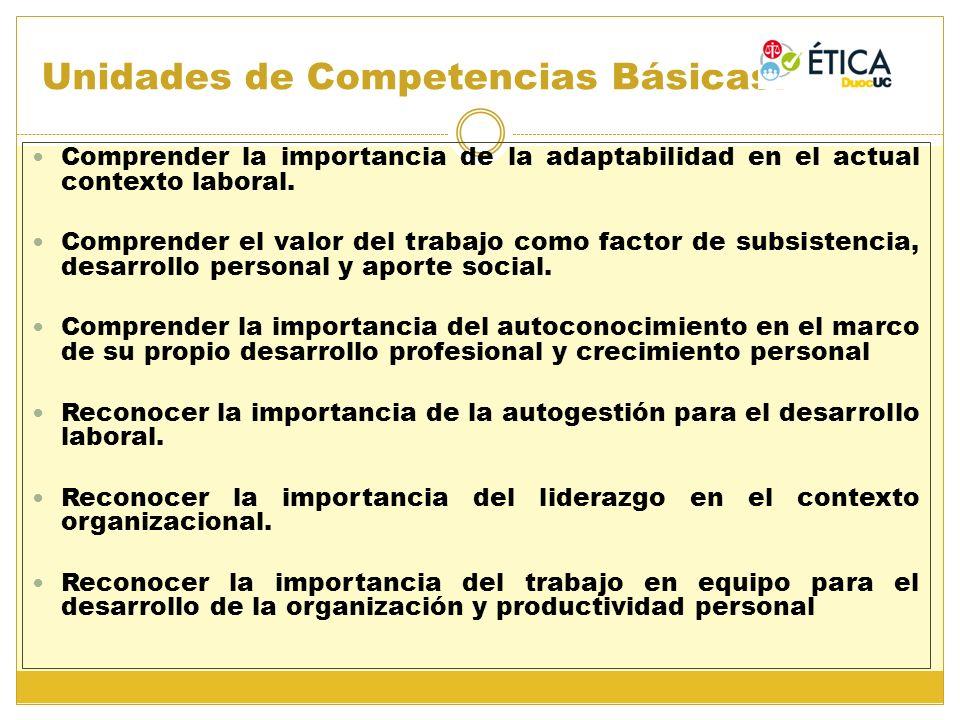 Unidades de Competencias Básicas: Comprender la importancia de la adaptabilidad en el actual contexto laboral. Comprender el valor del trabajo como fa