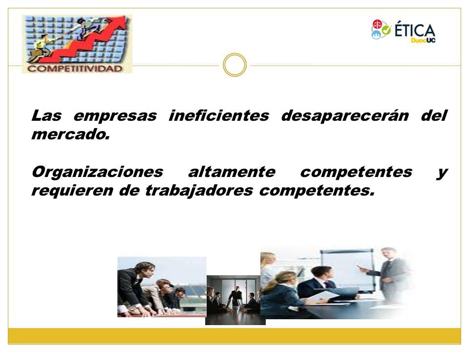 Las empresas ineficientes desaparecerán del mercado. Organizaciones altamente competentes y requieren de trabajadores competentes.