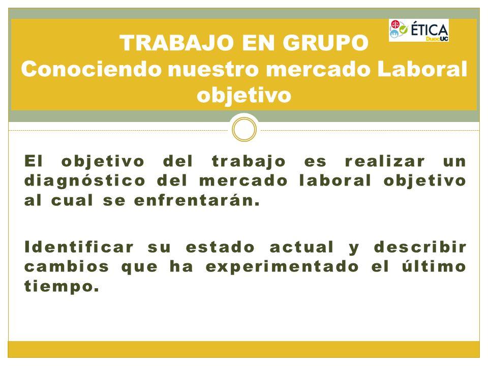 El objetivo del trabajo es realizar un diagnóstico del mercado laboral objetivo al cual se enfrentarán. Identificar su estado actual y describir cambi