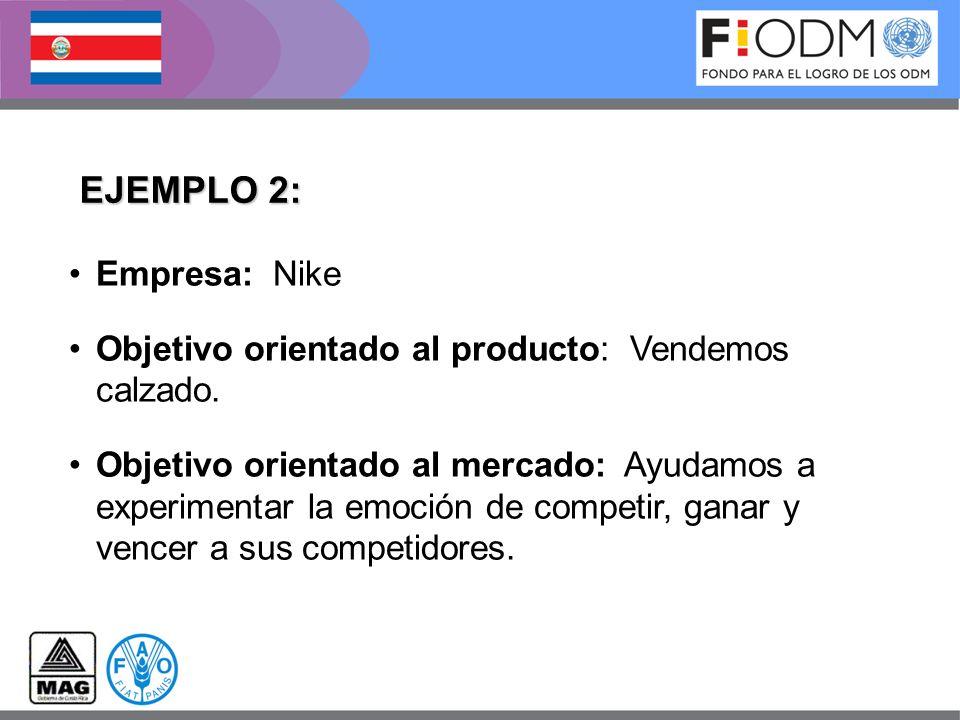 EJEMPLO 2: Empresa: Nike Objetivo orientado al producto: Vendemos calzado. Objetivo orientado al mercado: Ayudamos a experimentar la emoción de compet
