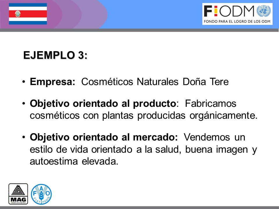 EJEMPLO 3: Empresa: Cosméticos Naturales Doña Tere Objetivo orientado al producto: Fabricamos cosméticos con plantas producidas orgánicamente. Objetiv