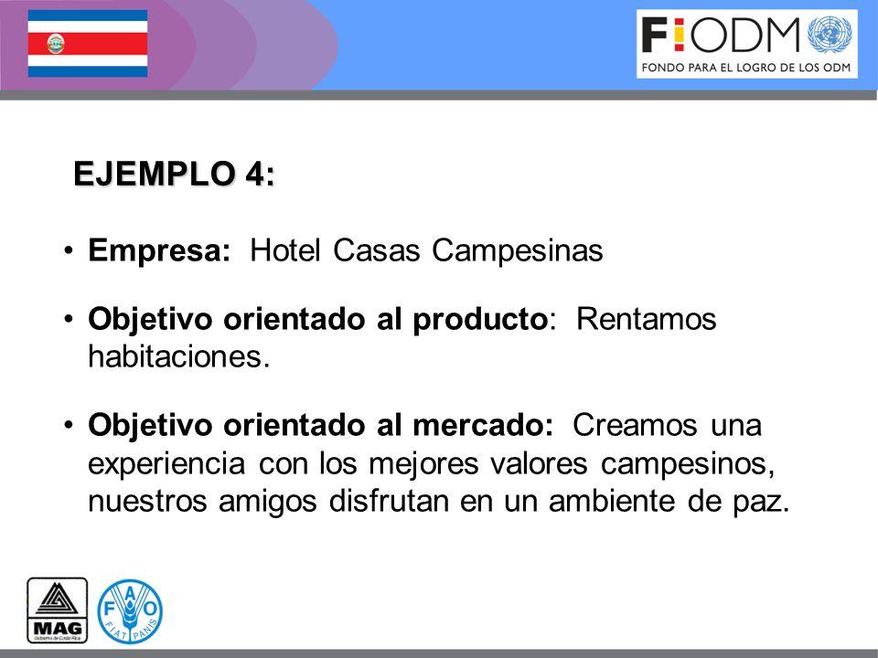 EJEMPLO 4: Empresa: Hotel Casas Campesinas Objetivo orientado al producto: Rentamos habitaciones. Objetivo orientado al mercado: Creamos una experienc